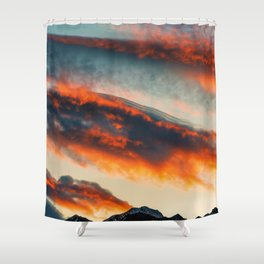 Sunset Over the Mountains (Color) Shower Curtain