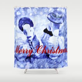 A Blue Christmas Shower Curtain
