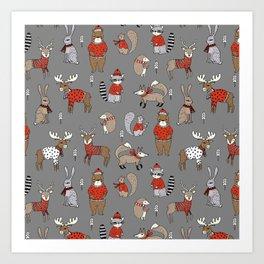 Christmas winter woodland animals foxes deer bunnies moose holiday cute design Art Print