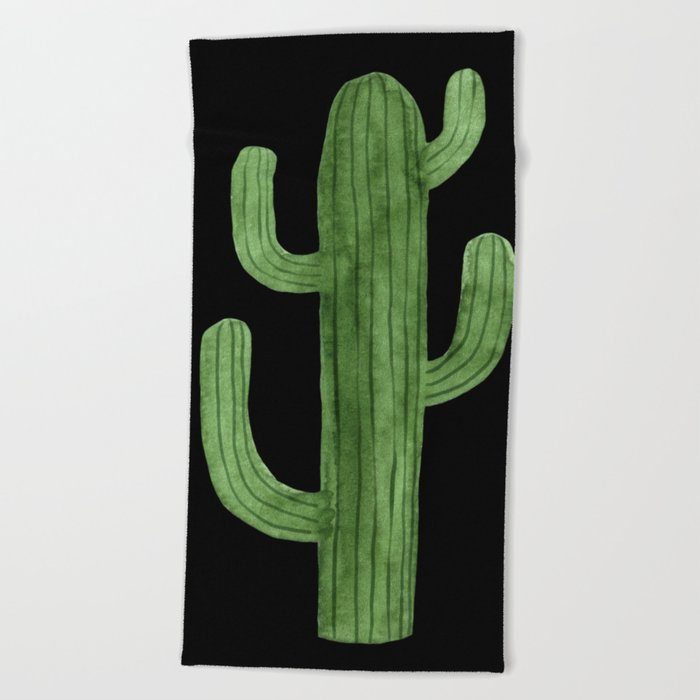 Cactus Solo on Black Beach Towel
