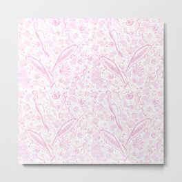 Mermaid Toile - Baby Pink Metal Print