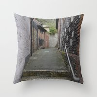 winchester Throw Pillows featuring Winchester Alley by Ashley Callan