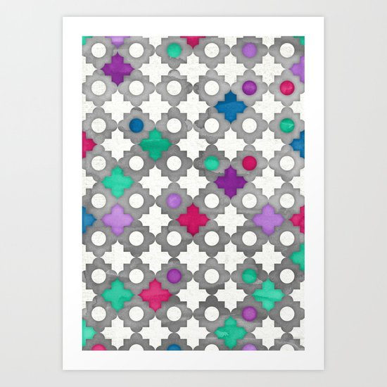 Color Pop Moroccan in fuchsia, purple, emerald green, grey & white. Art Print