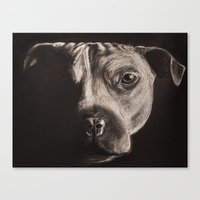 pitbull Canvas Prints featuring PitBull by LanaBunny