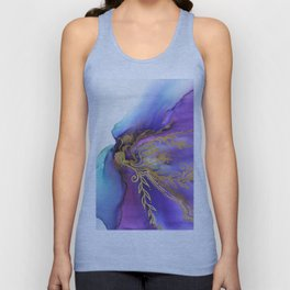 Blooming Gold In Violet Iris - Abstract Ink Painting Unisex Tank Top