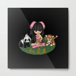Kawaii China Doll Friends Panda And Tiger Metal Print