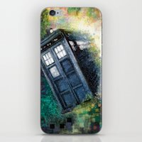 dr who iPhone & iPod Skins featuring Dr. Who Tardis by Mercenary Art Studio