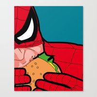 the secret life of heroes Canvas Prints featuring The secret life of heroes - Spiderfood by Greg-guillemin
