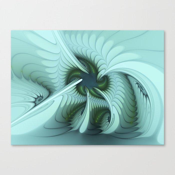 Green Lights in a blue Fantasy Fractal Canvas Print