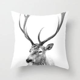 Deer Print, Black and white photo print Throw Pillow
