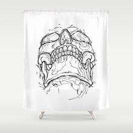 Carnibal / Ink Skull / Black Shower Curtain