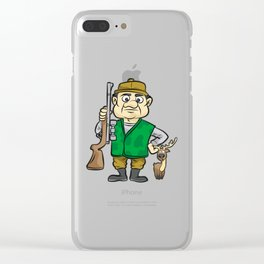 HUNTER WITH DEER Hunting Rifle forester warden Clear iPhone Case