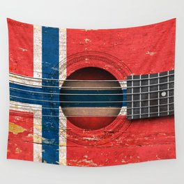 Old Vintage Acoustic Guitar with Norwegian Flag Wall Tapestry