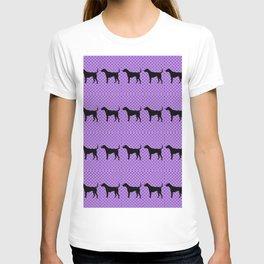 Black Lab in Purple Pattern T-shirt