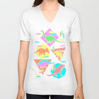 yetiland V-neck T-shirts featuring Nineties Dinosaur Pattern by chobopop