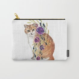 cat with flower boa Carry-All Pouch