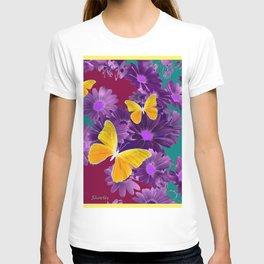 PURPLE FLOWERS YELLOW BUTTERFLIES TEAL GARDEN T-shirt