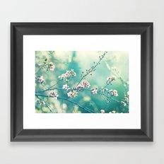 Turquoise Teal Pink Floral Photography, Aqua Flower Nature Art Framed Art Print