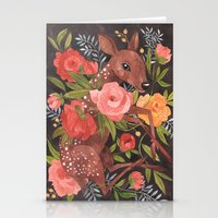 oana befort Stationery Cards featuring FAWN & FLORA by Oana Befort
