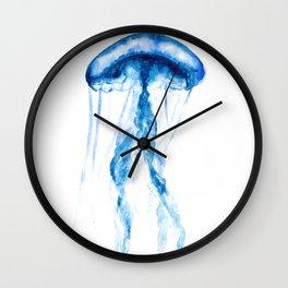 Blue Watercolor Jellyfish Wall Clock