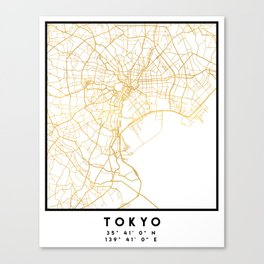 TOKYO JAPAN CITY STREET MAP ART Canvas Print