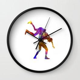 Wrestlers wrestling men 03 in watercolor Wall Clock