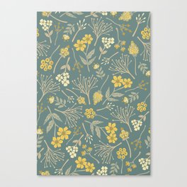 Yellow, Cream, Gray, Tan & Blue-Green Floral Pattern Canvas Print