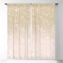 Modern champagne glitter ombre blush pink marble pattern Blackout Curtain