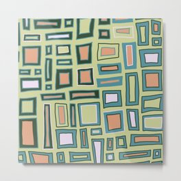 Mostly Square - Green Metal Print