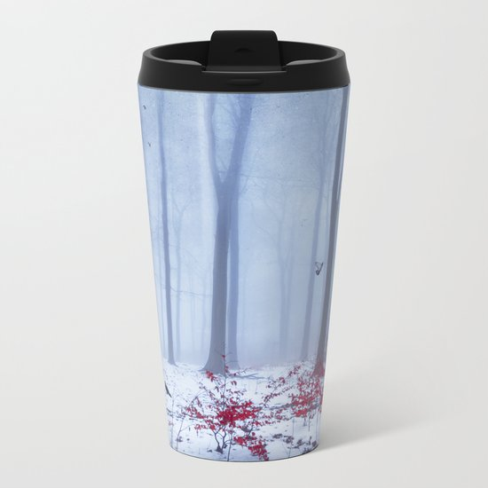 winter forest with birds Metal Travel Mug