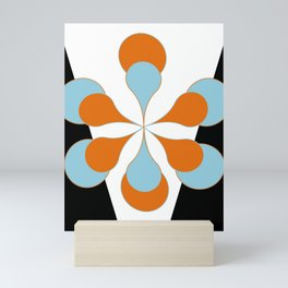 Mid-Century Modern Art 1.4 Aqua Orange Flower Mini Art Print