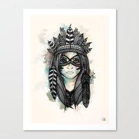 headdress Canvas Prints featuring Headdress by Caleb Swenson