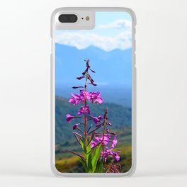 Fireweed Overlooking Mat-Su Valley, Alaska Clear iPhone Case