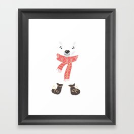 Christmas cute bear. Winter design illustration Framed Art Print