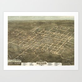Vintage Pictorial Map of Raleigh NC (1872) Art Print