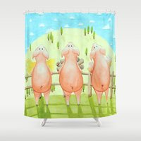 pigs Shower Curtains featuring The Three Little Pigs by Isobel Woodcock Illustration