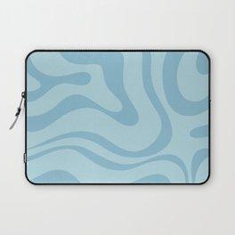 Light Aqua Blue Liquid Swirl Abstract Pattern Square Laptop Sleeve