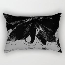 Black Floral Rectangular Pillow