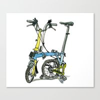 brompton Canvas Prints featuring My brompton standing up by Swasky