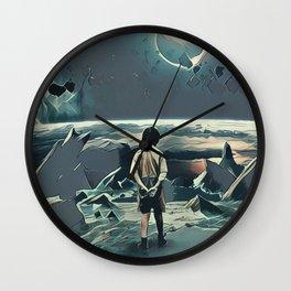 Lonely boy in cosmos Wall Clock
