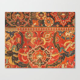 Red Arabic Rug I // 17th Century Colorful Firey Red Light Teal Sapphire Navy Blue Ornate Pattern Canvas Print