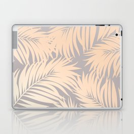 Palm Tree Fronds Peach Pink Blush on Soft Grey Hawaii Tropical Décor Laptop & iPad Skin