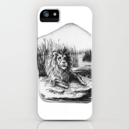 Barbary Lion on a rock by annmariescreations iPhone Case