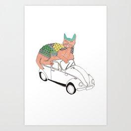 kaela and cat Art Print