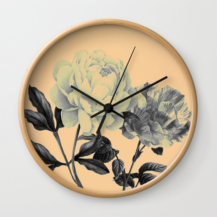 roeses on coral background Wall Clock