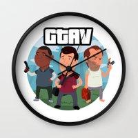 grand theft auto Wall Clocks featuring Grand Theft Auto V Cartoon by Aaron Lecours