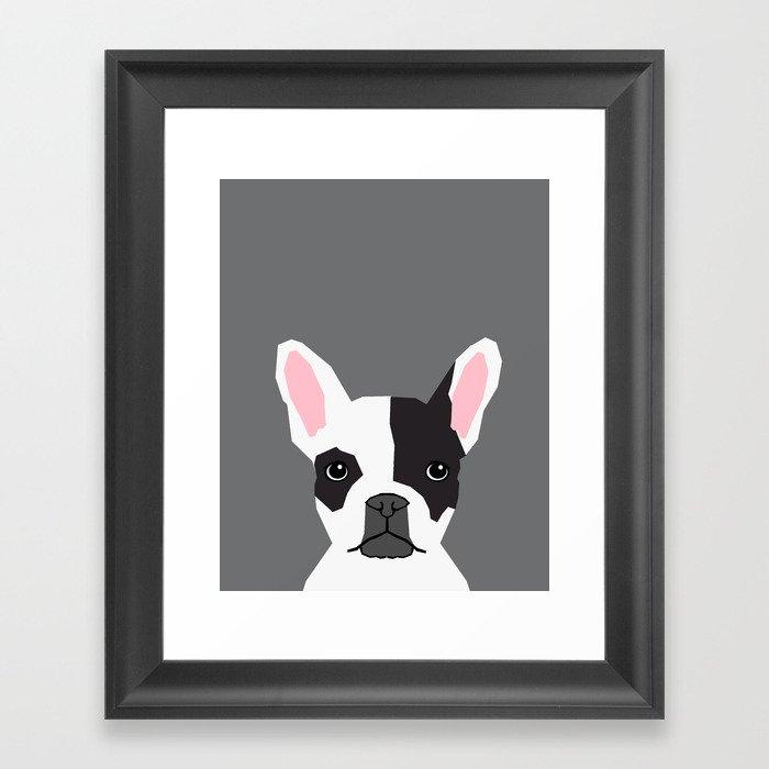 Parker French Bulldog Animal Art Modern Colors For Dog People Framed Art Print