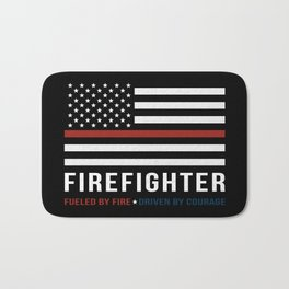 Fueled By Fire (Thin Red Line) Bath Mat
