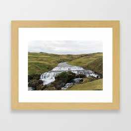 Waterfall in Iceland - nature landscape Framed Art Print