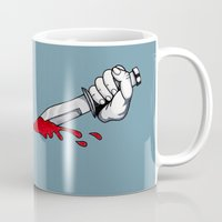 psycho Mugs featuring Psycho by mothermary